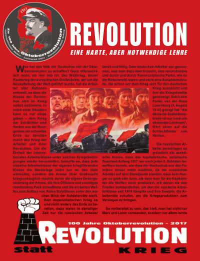 Flugschrift Revolution statt Krieg